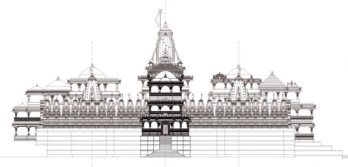 West elevation of the adinatha temple ranakpur